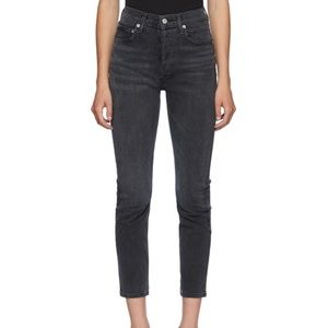 Agolde Black Riley High Rise Straight Crop Jeans